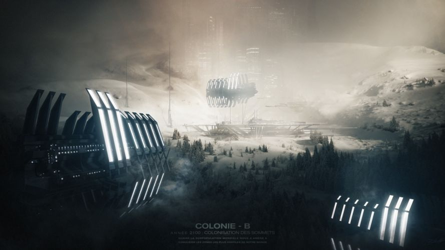 ships colony Spaceport Space Planet city spaceship wallpaper