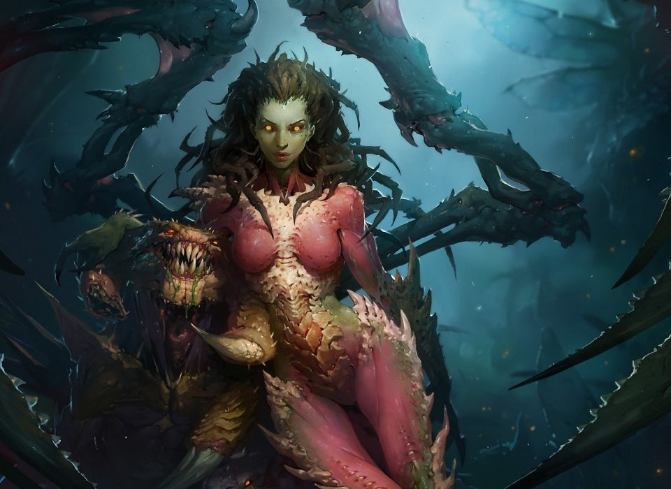 starcraft wings sarah kerrigan ld austin monster girl Art wallpaper