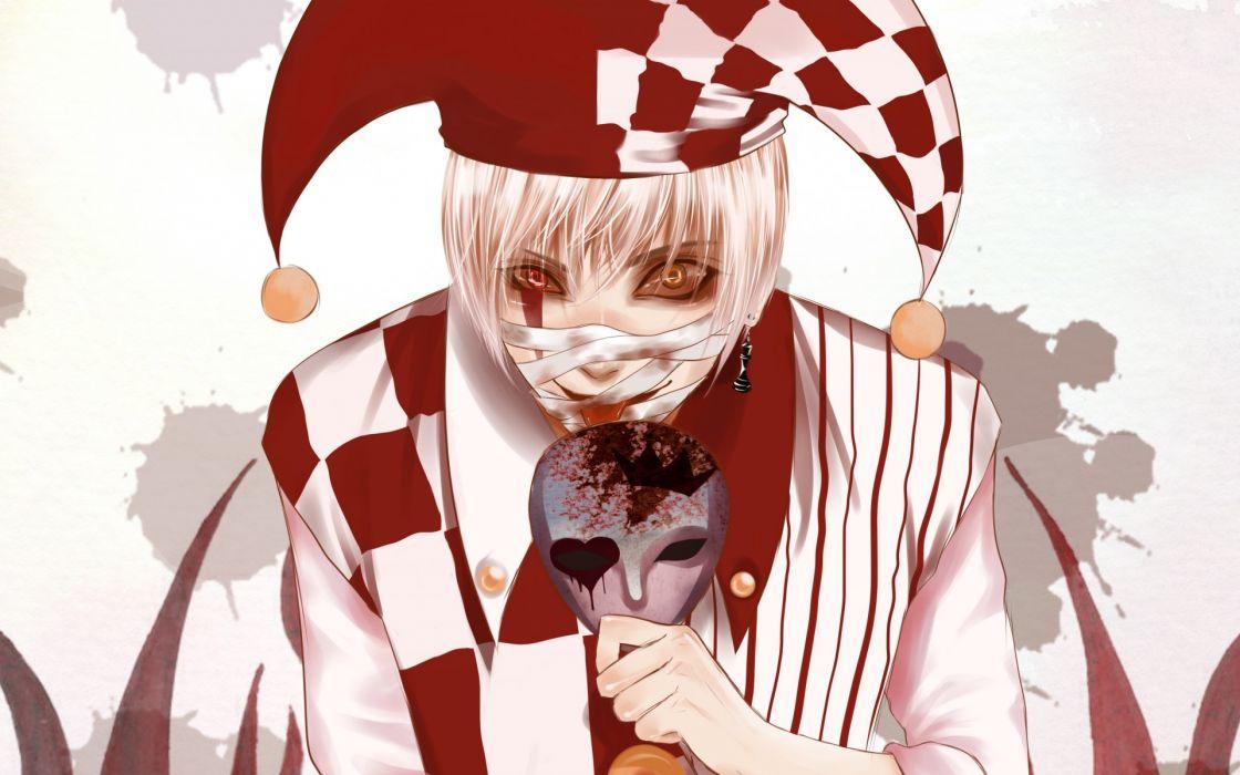 original dark Mad clown clown crazy mask bandage bandages earring different eyes wallpaper