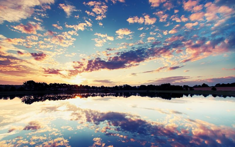sunset clouds sky lake reflection wallpaper