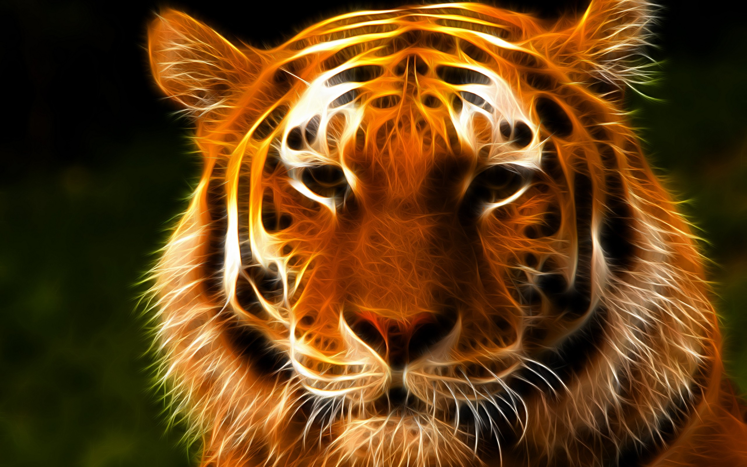 Tiger Face Eyes Fractal Wallpaper