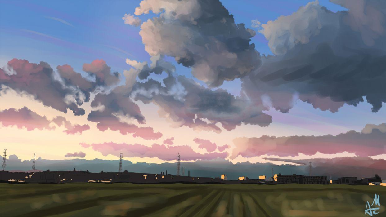 original city clouds grass landscape scenic sky wallpaper