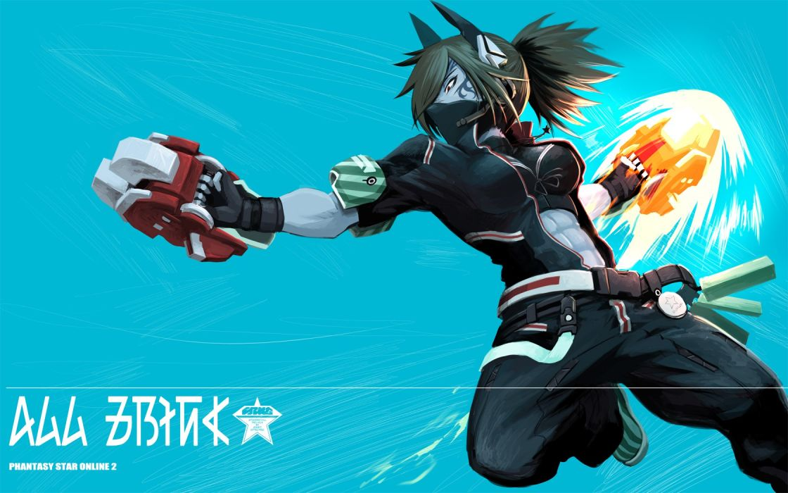 phantasy star online animal ears brown hair gloves mask necklace ponytail red eyes tattoo wallpaper