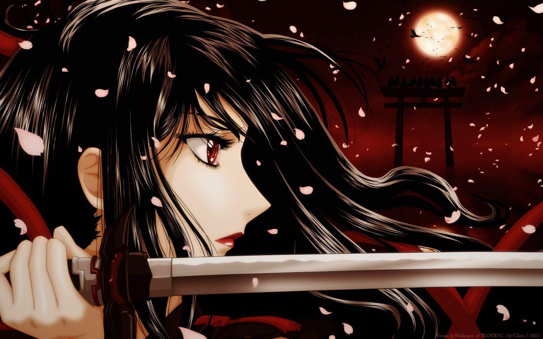 BLOOD-C aya Kisaragi katana sword wallpaper