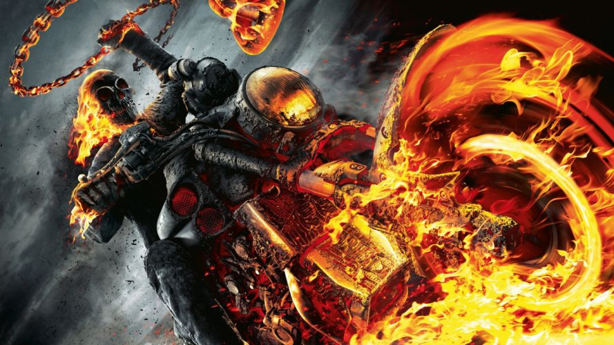 GHOST RIDER SPIRIT OF VENGEANCE dark fire skull skulls chopper chain wallpaper