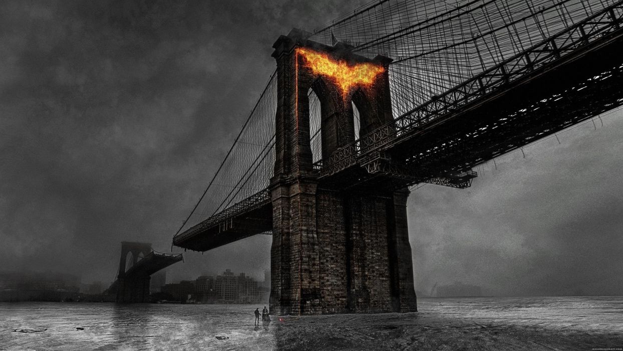Dark Knight Rises Batman Superhero Fire Bridge Wallpaper