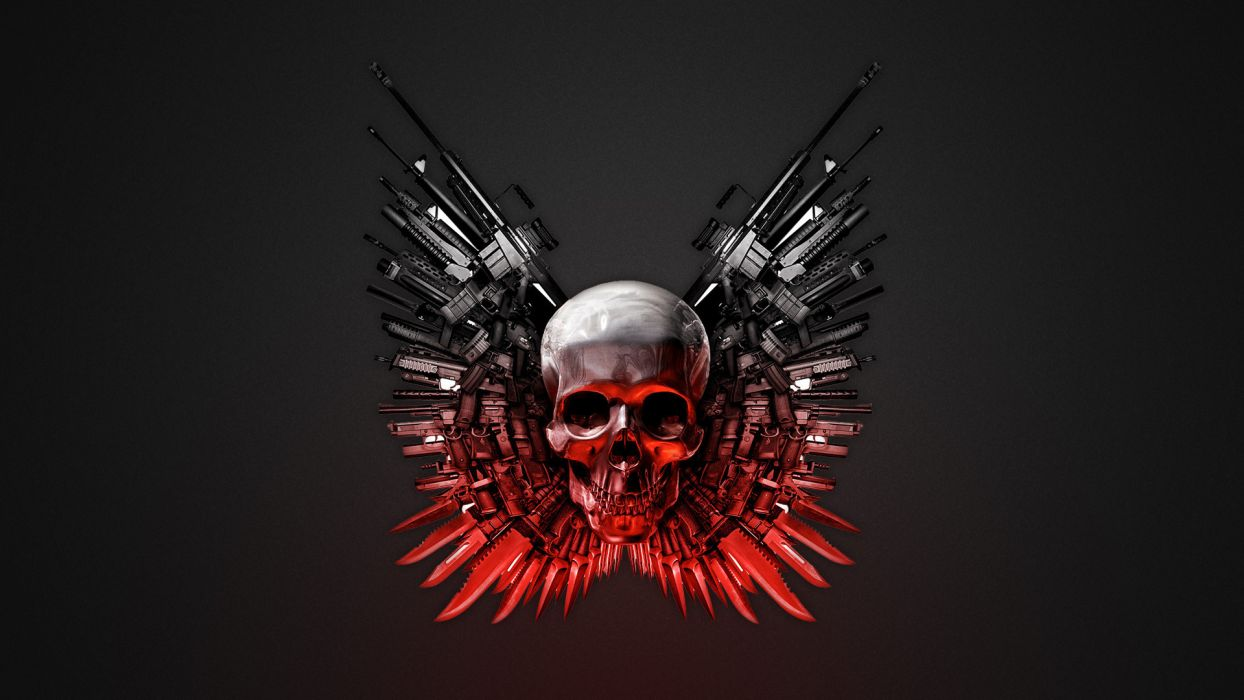 THE EXPENDABLES dark skull skulls weapon weapons wallpaper