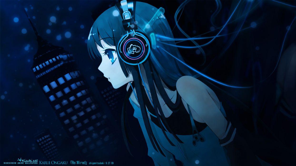 K-ON! Akiyama Mio headphones wallpaper