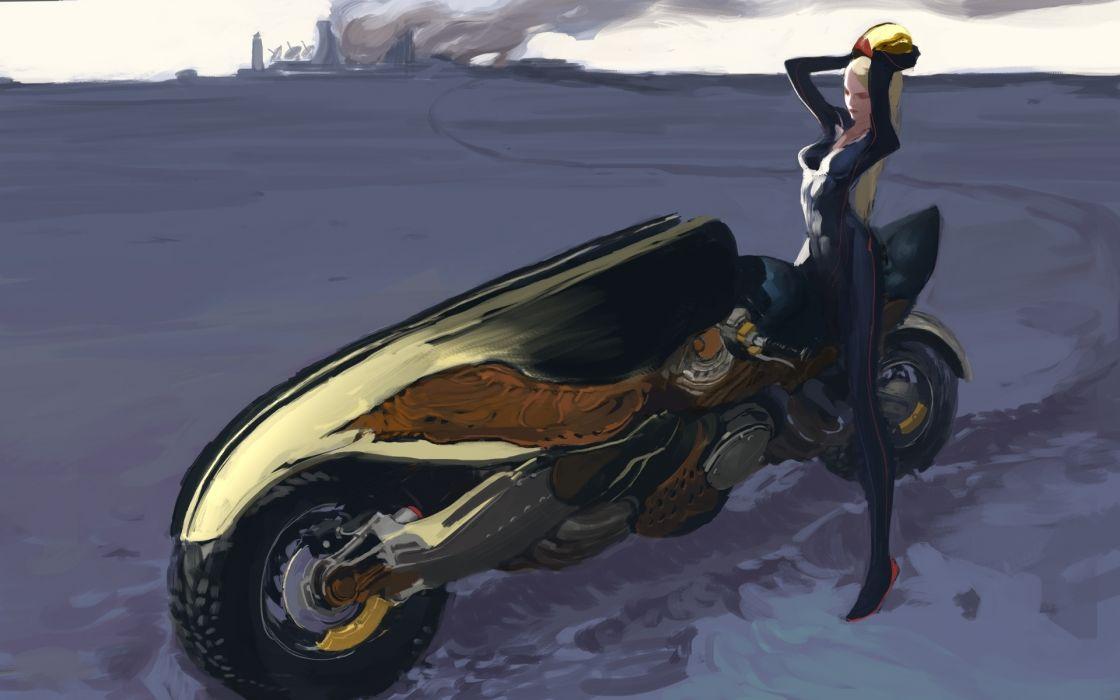 Painting Art Anime Girls Motorcycles original wallpaper
