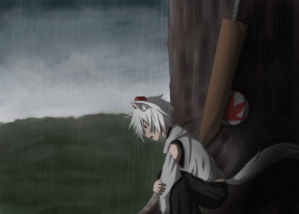 Touhou Inubashiri Momiji rain wallpaper