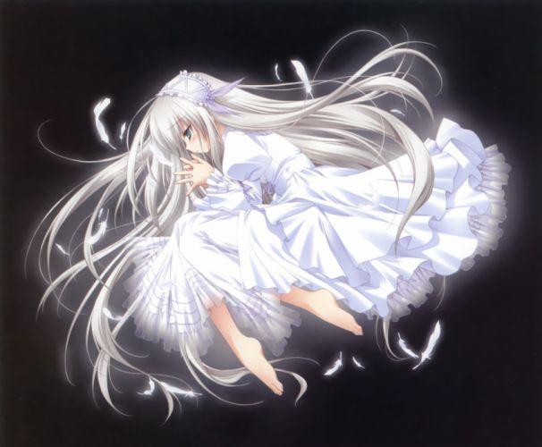 11-Eyes blue eyes dress feathers lisette vertorre long hair white hair wallpaper