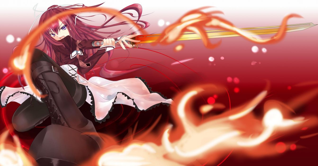 11-Eyes boots dress fire kusakabe misuzu long hair purple eyes red hair sword weapon wallpaper