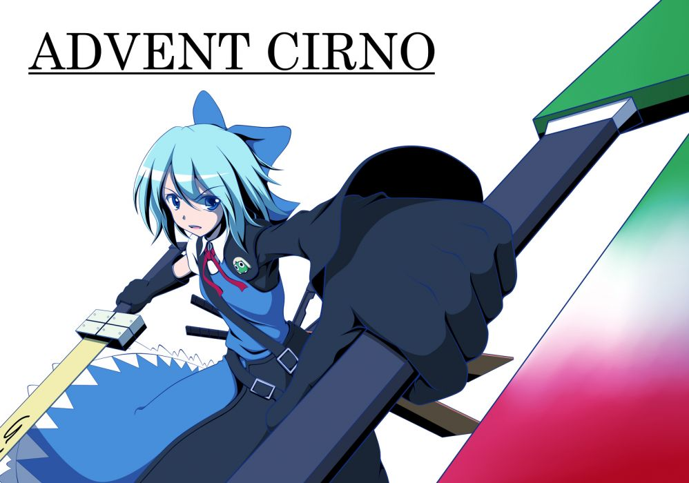 advent cirno blue eyes blue hair bow cirno short hair sword touhou weapon wallpaper