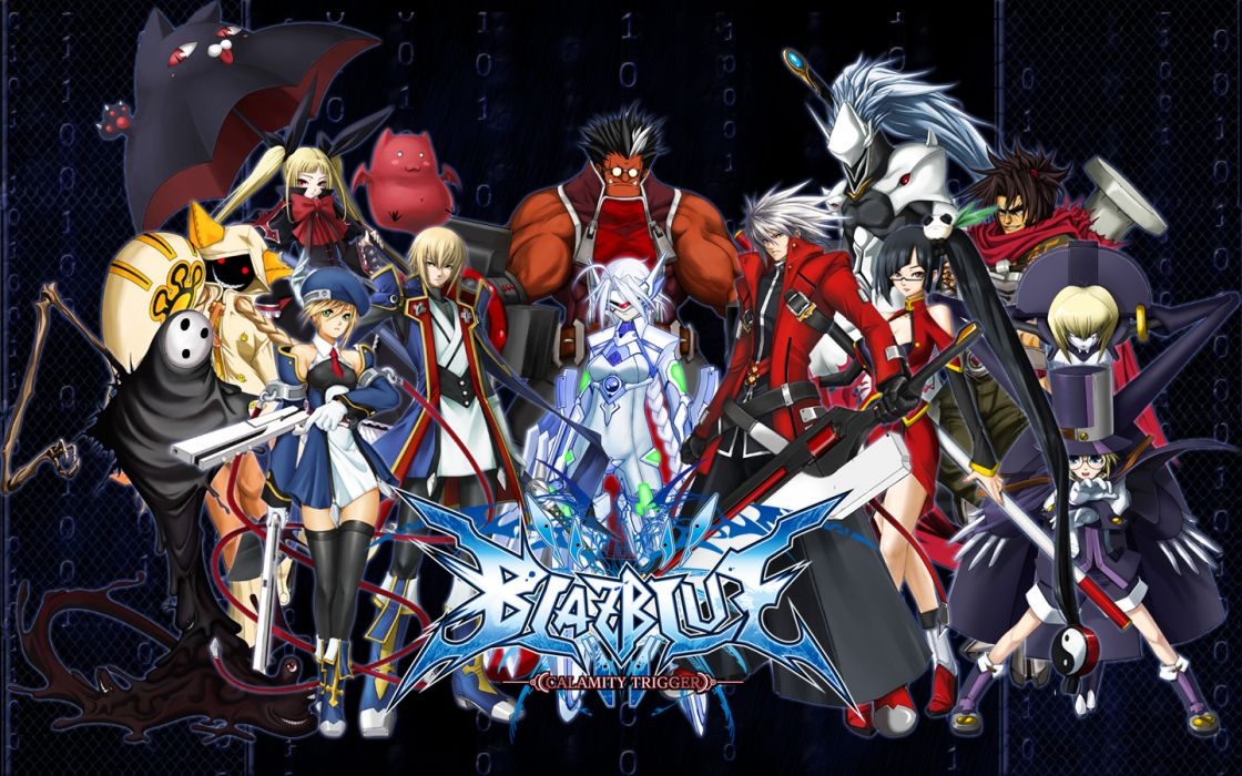 blazblue blue eyes bow dress glasses gray hair gun hakumen hat iron tager lambda-11 long hair nirvana red eyes sword taokaka umbrella weapon wallpaper