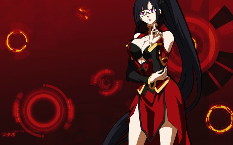 blazblue cleavage litchi faye ling photoshop purple eyes wallpaper
