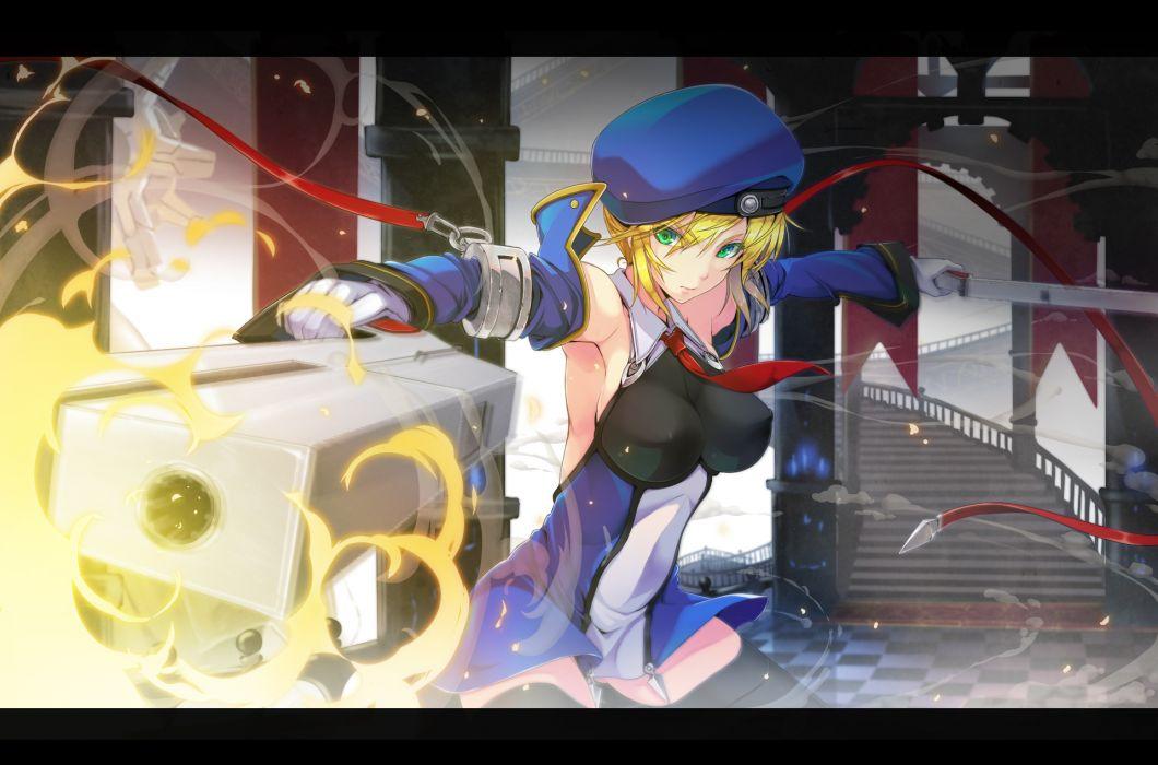 blazblue gloves green eyes gun hat noel vermillion rokumu hitomu thighhighs uniform weapon wallpaper