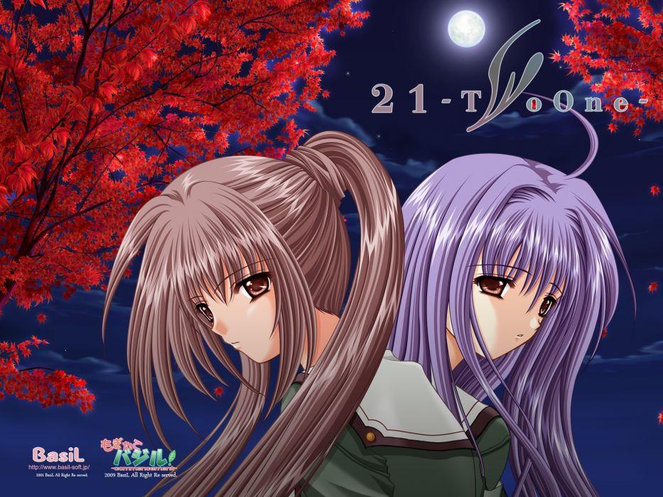 Twenty One 21 blue hair brown eyes brown hair futami mao futami f mio long hair seifuku twins wallpaper