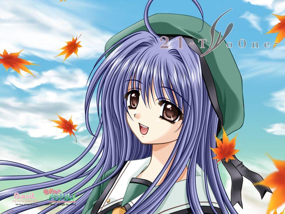 Twenty One 21 blue hair brown eyes futami mio long hair seifuku wallpaper