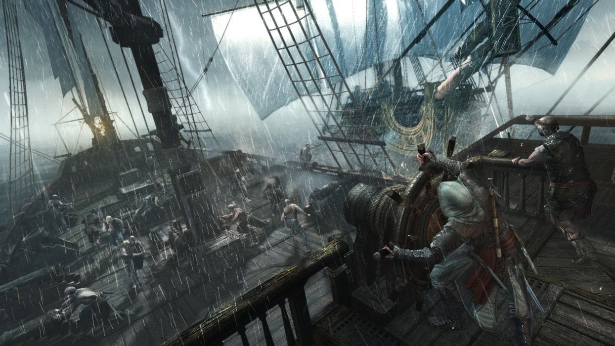 Assassins Creed Ships Rain Sailing Games ship storm wallpaper