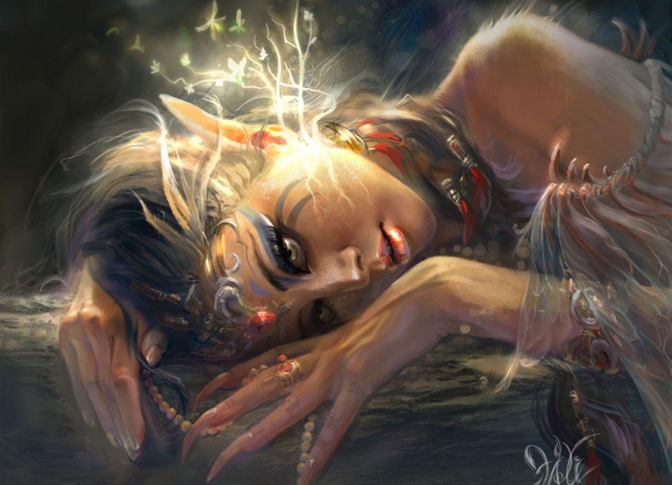 Elves Painting Art Glance Fantasy Girls elf wallpaper