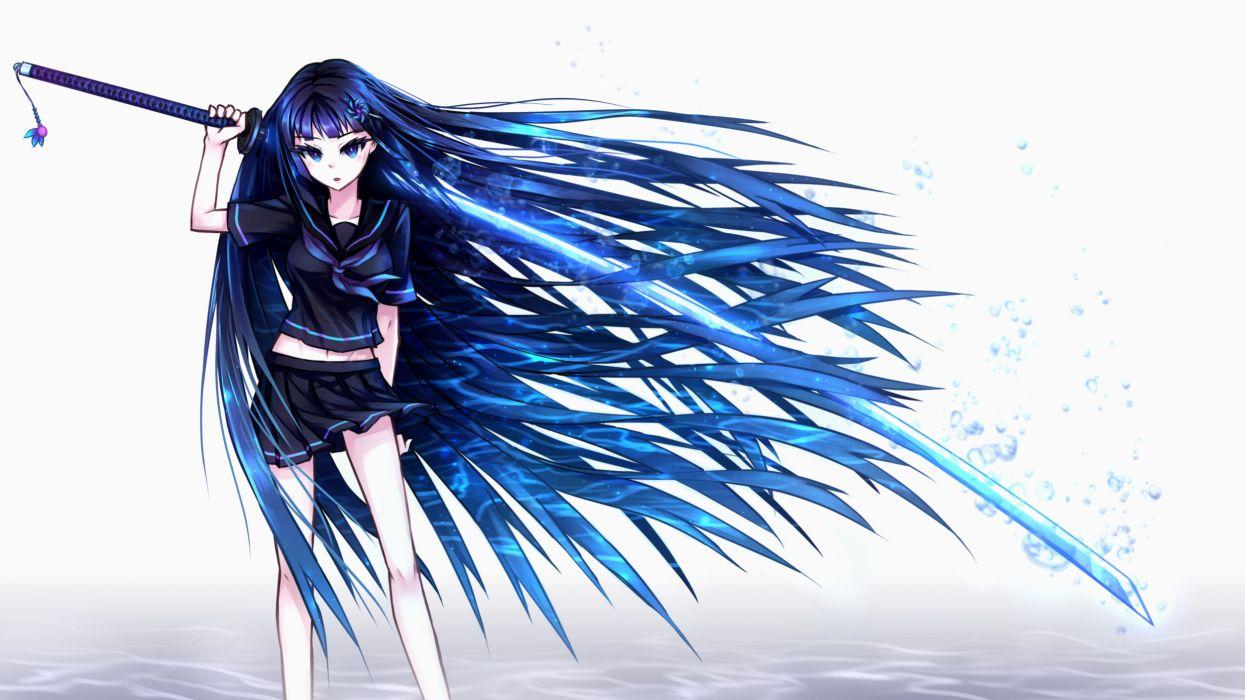 original blue eyes blue hair bubbles katana long hair navel original samael seifuku sword weapon wallpaper