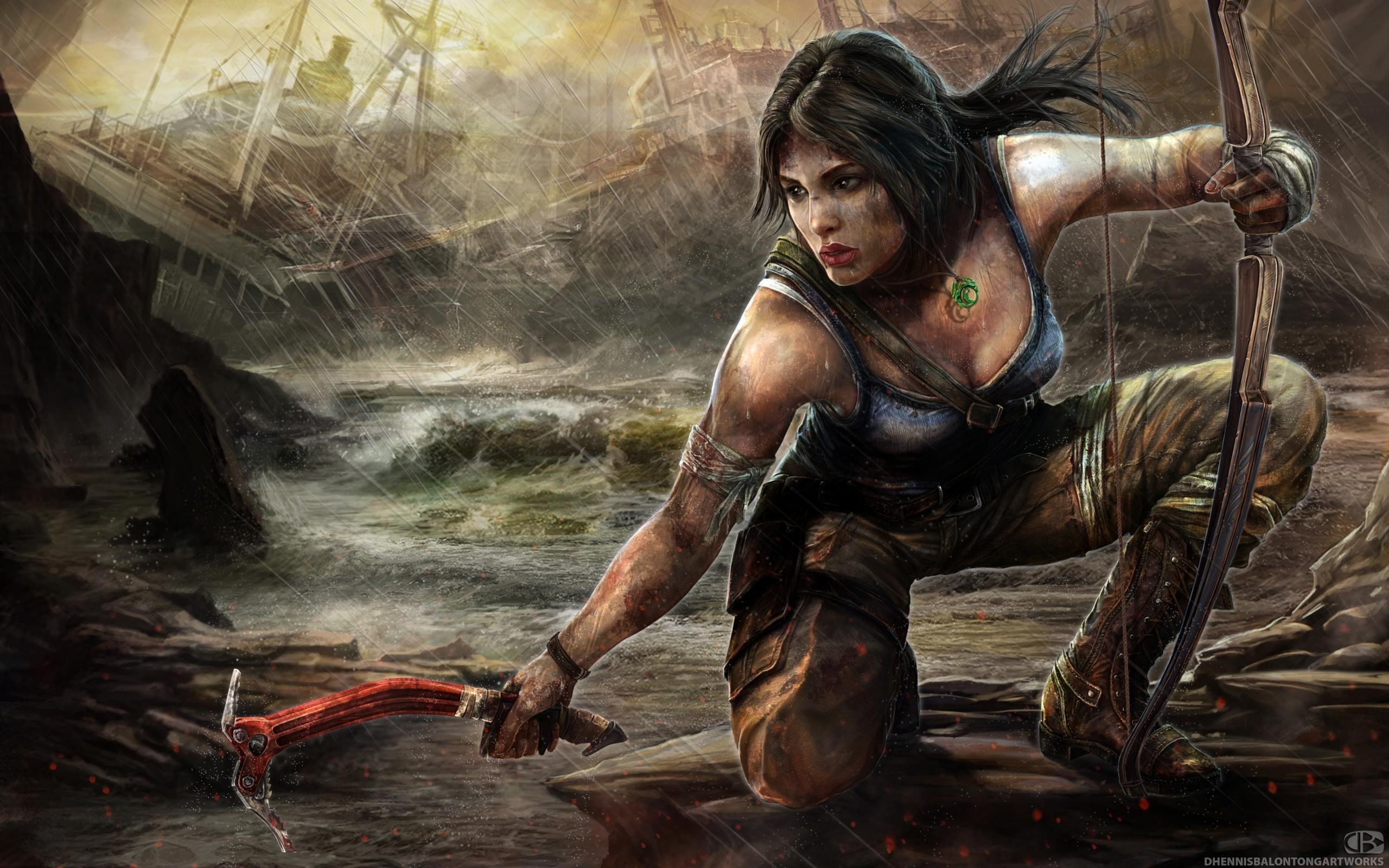 Tomb Raider 2013 Warriors Archers Rain Lara Croft Games Girls Wallpaper 2560x1600 103484 Wallpaperup