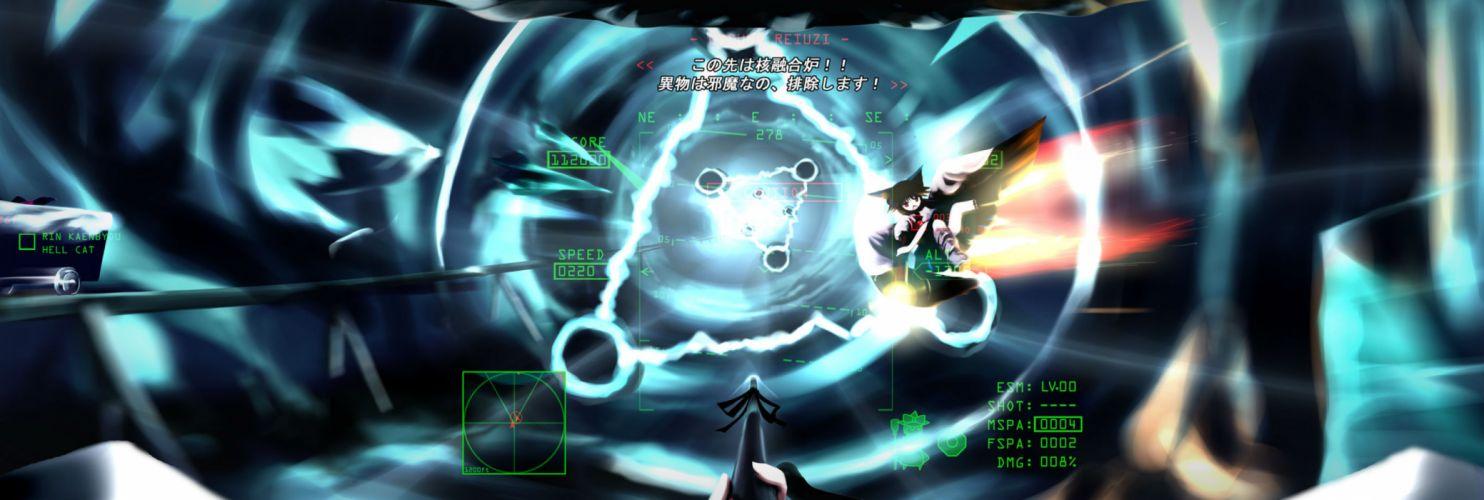 ace combat black hair bow chipika kirisame marisa long hair parody red eyes reiuji utsuho touhou wings wallpaper