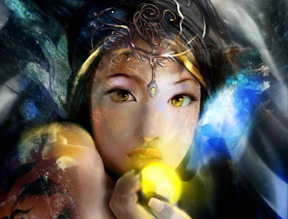 fantasy magic orb girl wallpaper