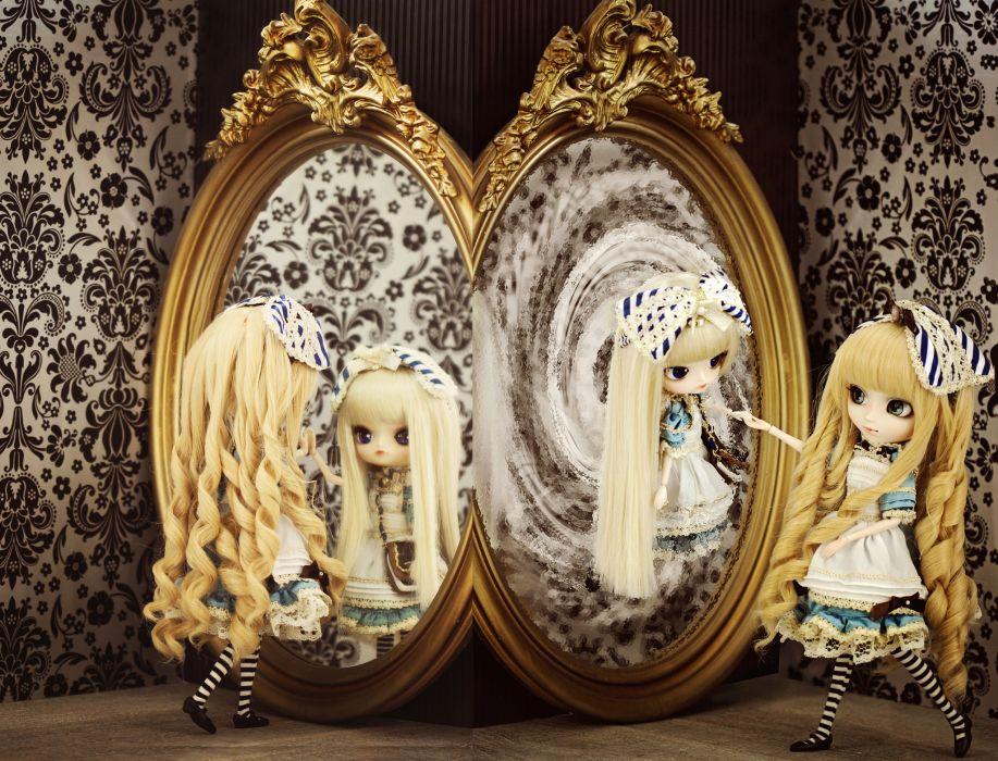 doll dolls toy toys girl girls mirror reflection bokeh wallpaper
