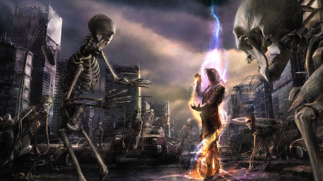 Pavel Lagutin Fantasy dark evil magic skeleton skeletons skull skulls battle undead wallpaper