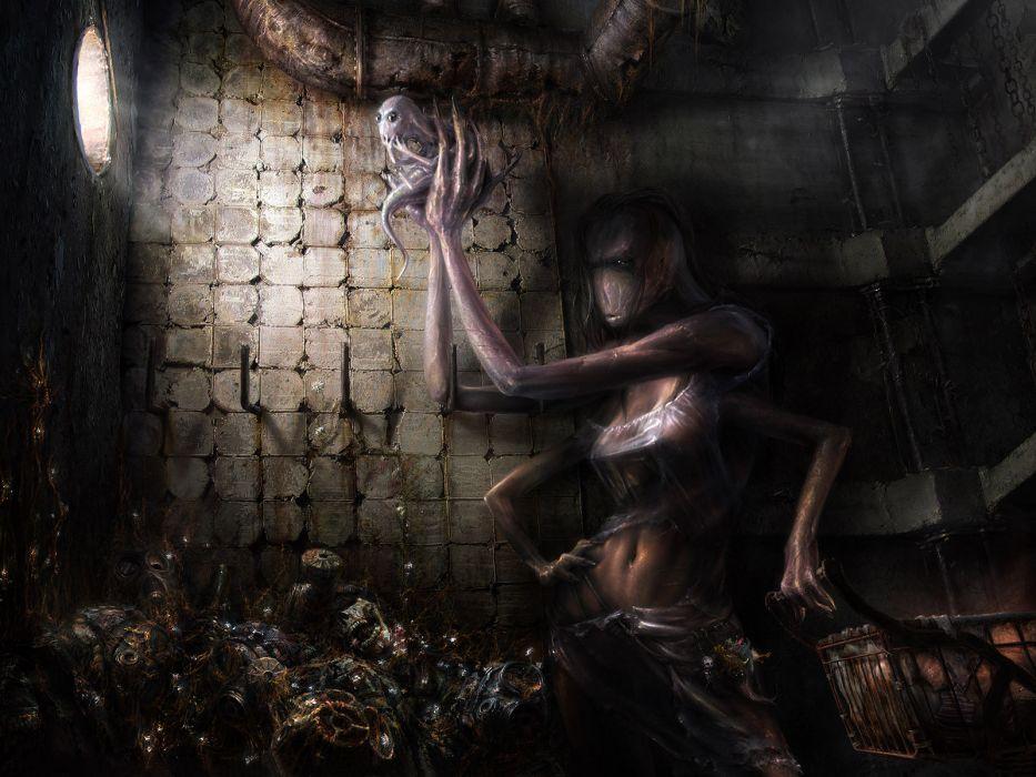 Pavel Lagutin Fantasy dark horror evil apocalyptic women girl girls monster wallpaper