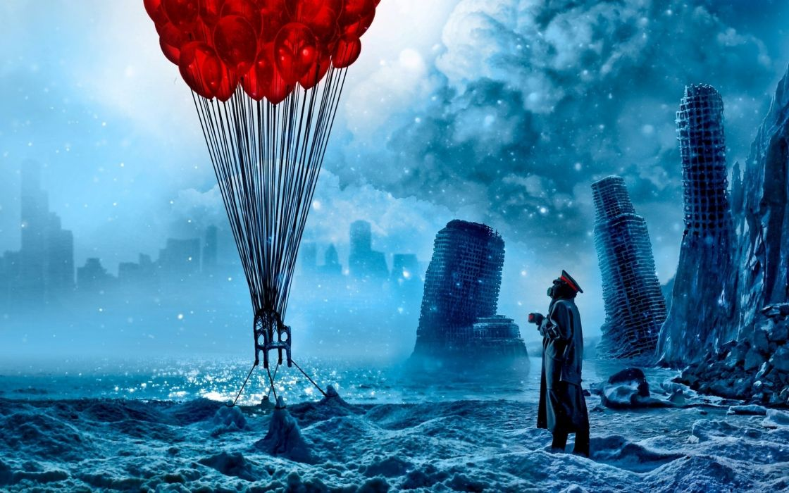 Romantically Apocalyptic heroes comics comic sci-fi futuristic dark mask balloon balloons wallpaper