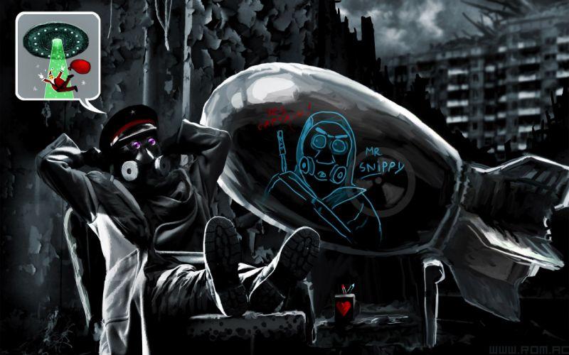Romantically Apocalyptic heroes comics comic sci-fi futuristic dark mask bomb wallpaper