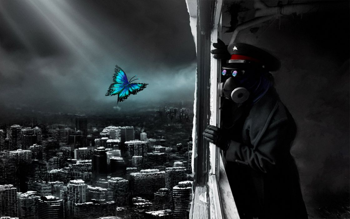 Romantically Apocalyptic heroes comics comic sci-fi futuristic dark mask butterfly mood bokeh wallpaper