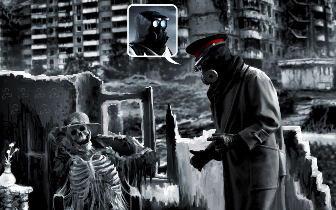Romantically Apocalyptic heroes comics comic sci-fi futuristic dark mask skull skulls skeleton       4 wallpaper