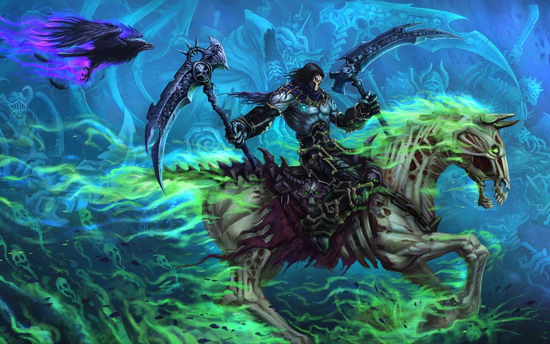 Darksiders II Undead Warriors Scythe Games grim reaper dark fantasy weapon horse wallpaper