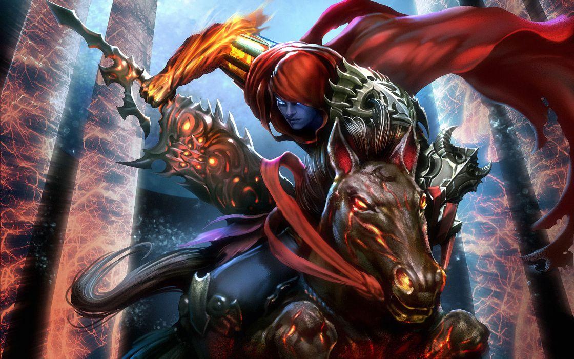 Darksiders Undead Warriors Games dark fantasy weapon warrior horse wallpaper