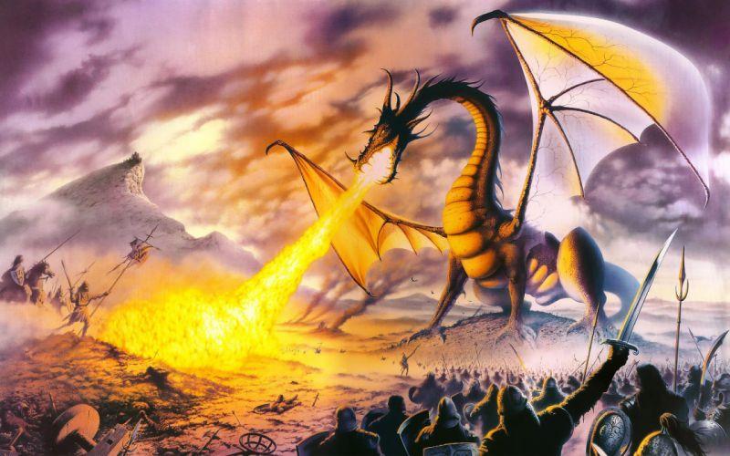 dragon dragons fire battle warrior wallpaper