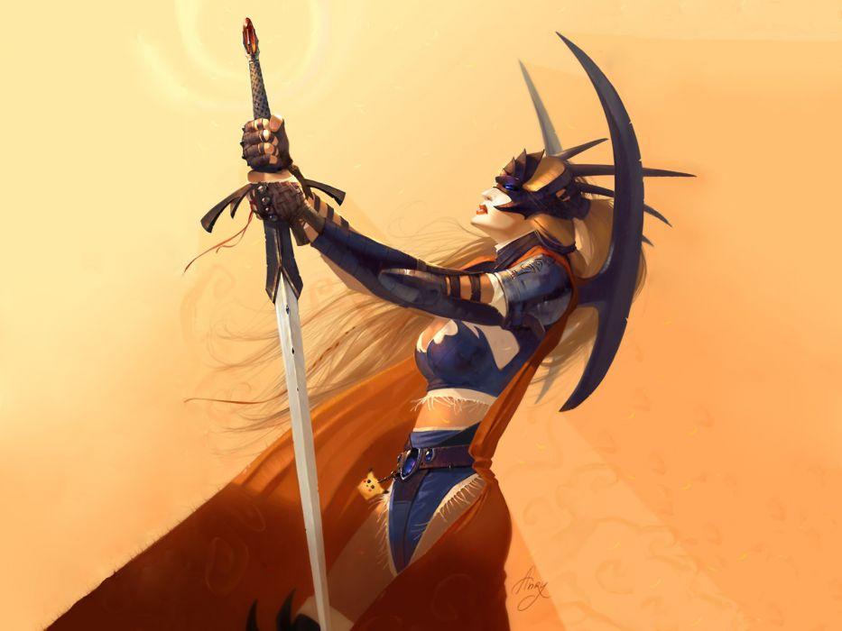 fantasy warrior warriors weapon sword girl wallpaper