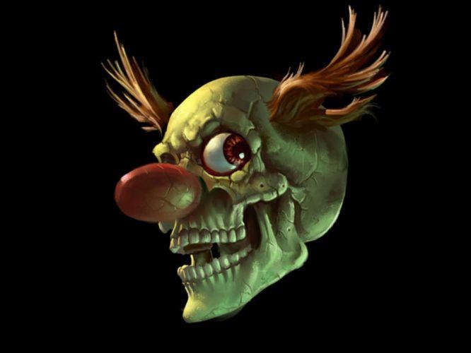 skull skulls dark clown clowns humor wallpaper