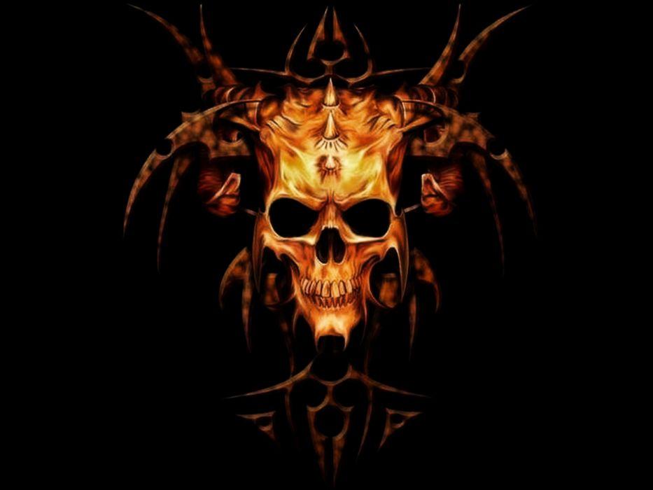 skull skulls dark demon satanic satan evil occult wallpaper