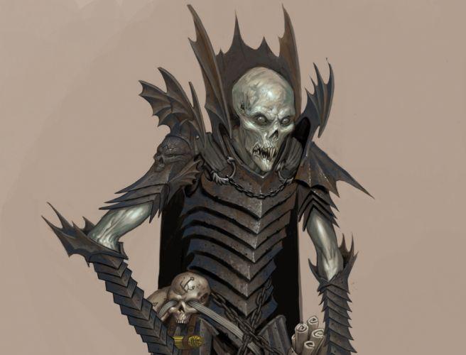 skull skulls dark evil reaper undead fantasy monster wallpaper