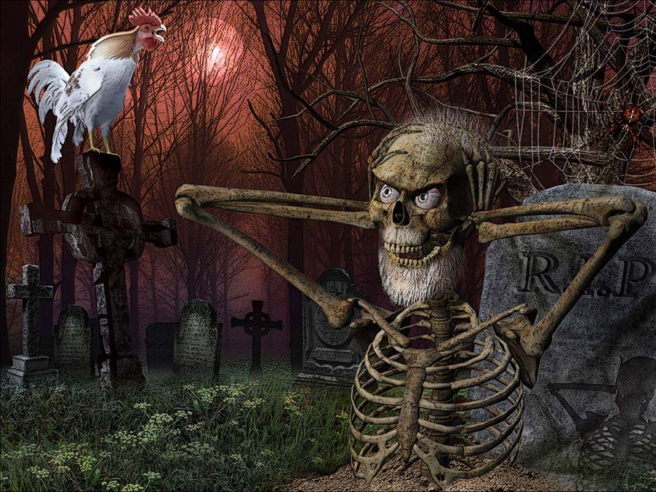 skull skulls dark humor funny halloween cemetery grave skeleton wallpaper
