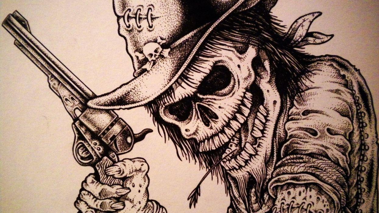skull skulls dark western weapon gun pistol wallpaper