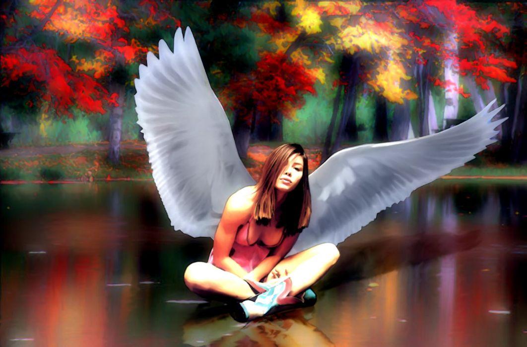 Angels Fantasy Girls girl asian women mood autumn bokeh wallpaper