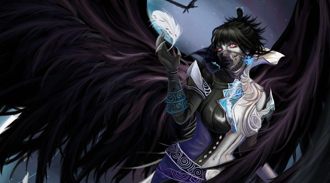 Angels Wings Fantasy Girls angel gothic mask dark demon wallpaper