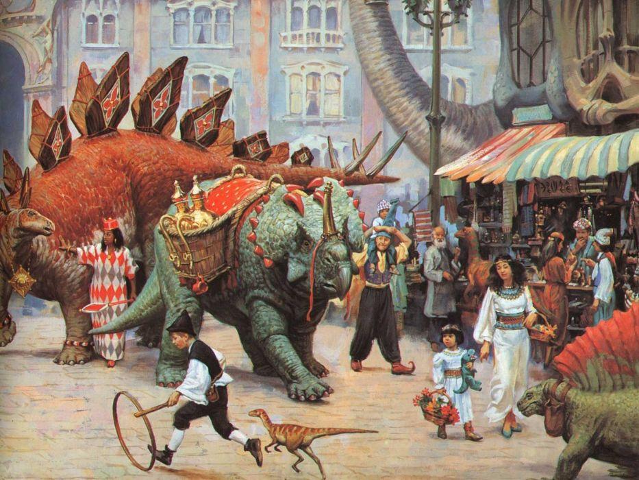 fantasy creature town crowd people children mood dinosaur painting wallpaper
