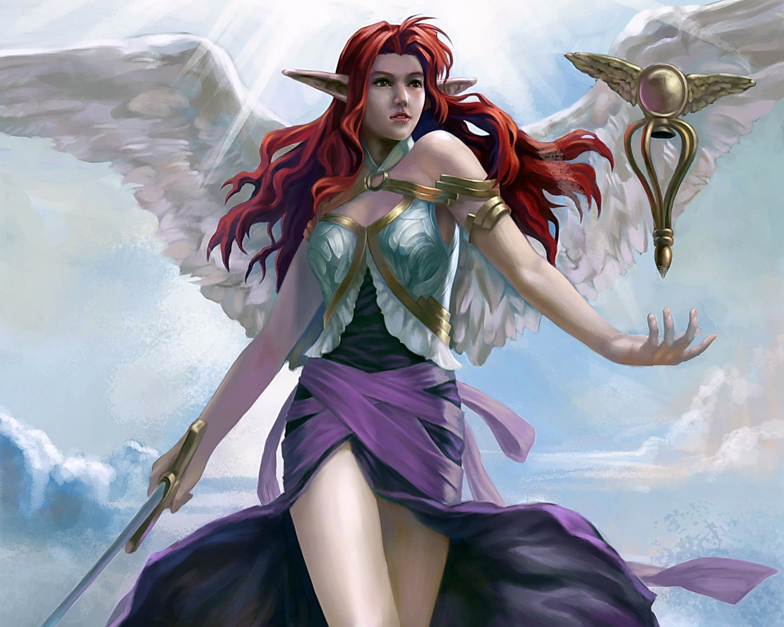 Angels Fantasy Girls Angel Elf Elves Magic Sword Swords