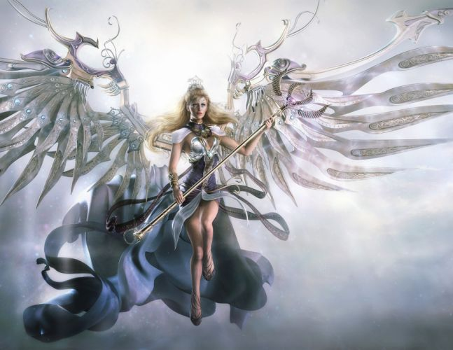 Angels Mage Staff Fantasy Girls angel f wallpaper