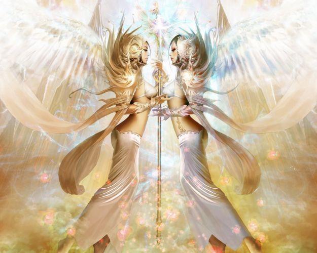 Angels Mage Staff Fantasy Girls angel wallpaper